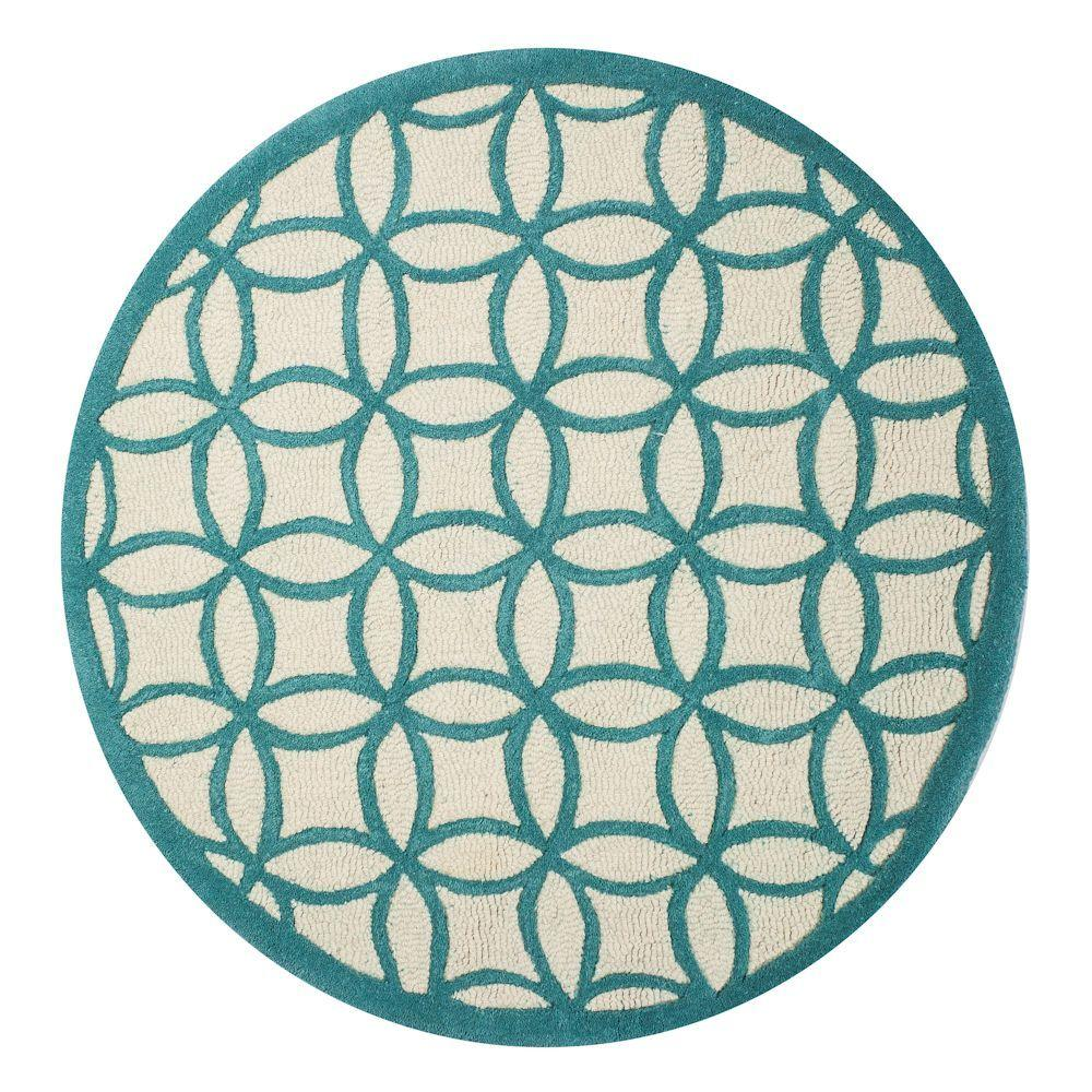 Kas Rugs Play Time Teal 3 ft. x 3 ft. Round Area Rug