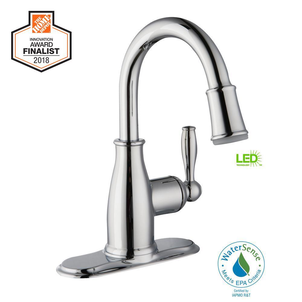 Mandouri Single Hole Single-Handle LED High-Arc Bathroom Faucet in Chrome