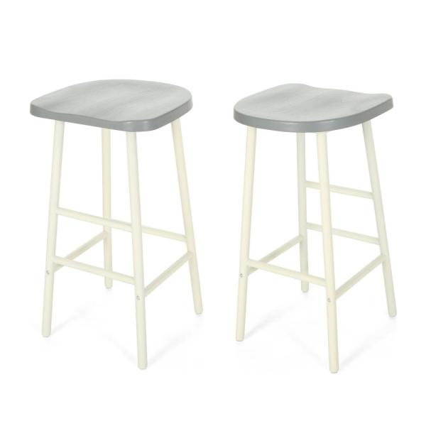 Noble House Merlyne 29.75 in. Gray Wooden Bar Stools with White