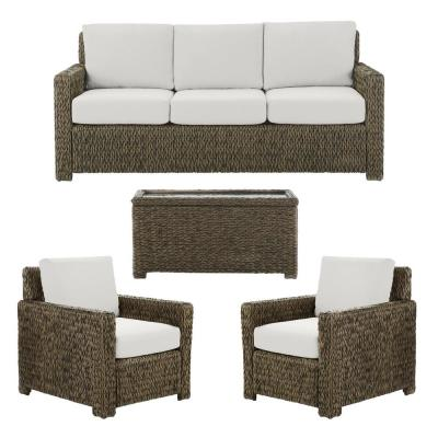 Laguna Point Brown 4-Piece Wicker Outdoor Patio Deep Seating Set with CushionGuard Chalk White Cushions