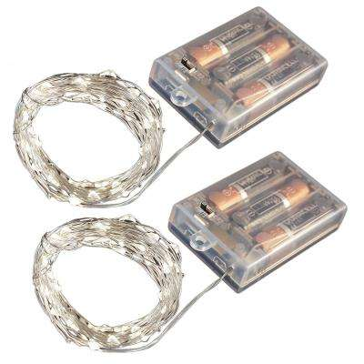 Battery Operated LED Waterproof Mini String Lights with Timer (50ct) Cool White (Set of 2)