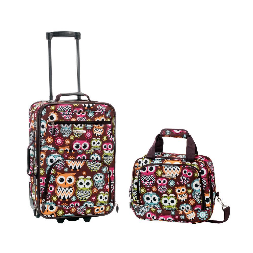 Rockland Rio Expandable 2-Piece Carry On Softside Luggage Set, Owl
