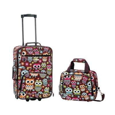 Rockland Rio Expandable 2-Piece Carry On Softside Luggage Set, Owl