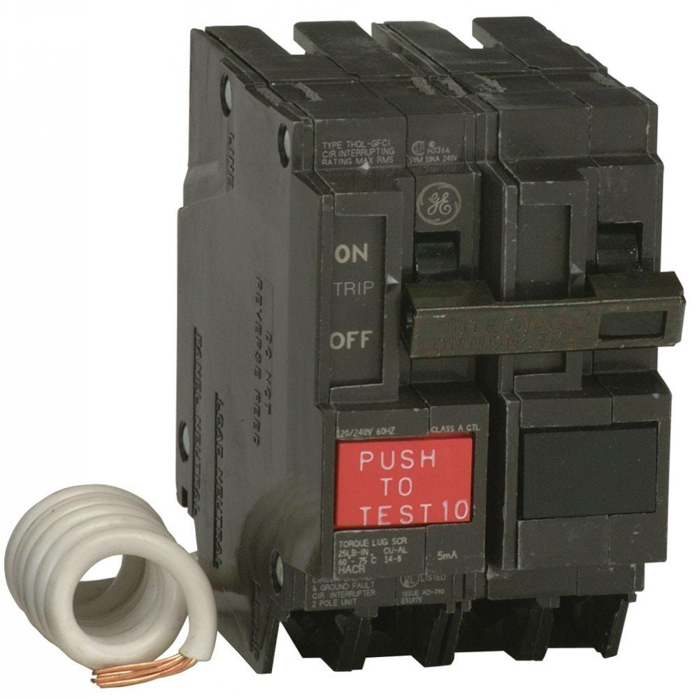 GE Q-Line 20 Amp 2-1/4 in. Double Pole GFCI Circuit Breaker