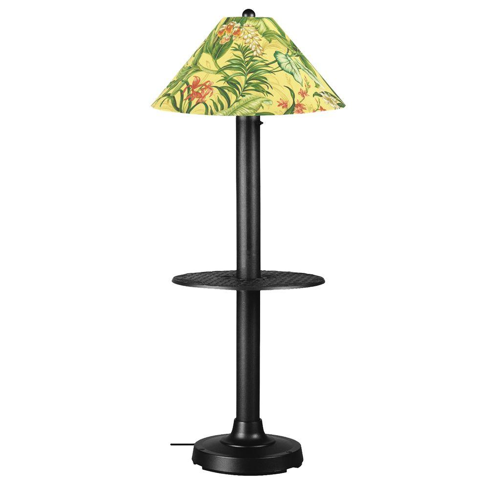 Patio Living Concepts Catalina 63.5 in. Outdoor Black Floor Lamp with Tray Table and Soleil Linen Shade