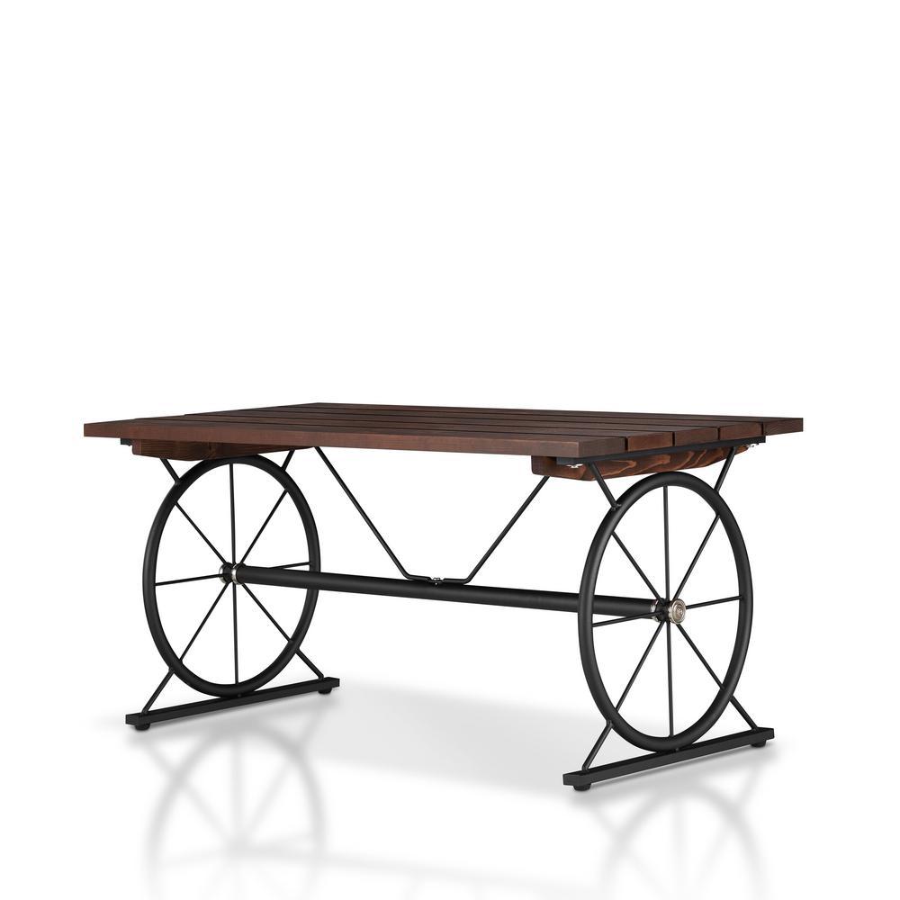 Krauss 36 in. Dark Brown/Black Medium Rectangle Wood Coffee Table with Wheels