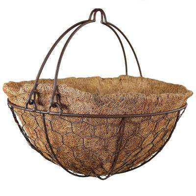Eggshell 14 in. Steel Wire Hanging Flower Basket with Coco Liner