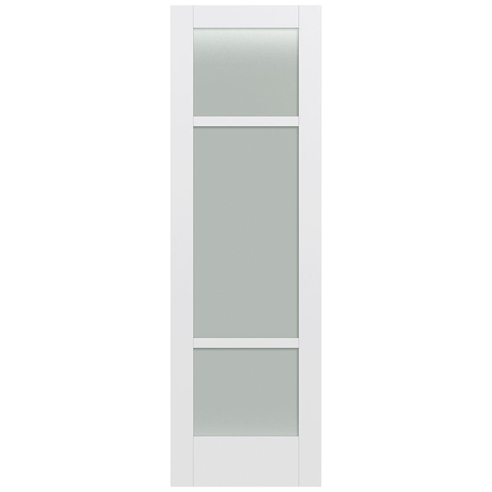 Jeld-Wen 32 in. x 96 in. Moda Primed PMT1031 Solid Core Wood Interior Door Slab w/Translucent Glass
