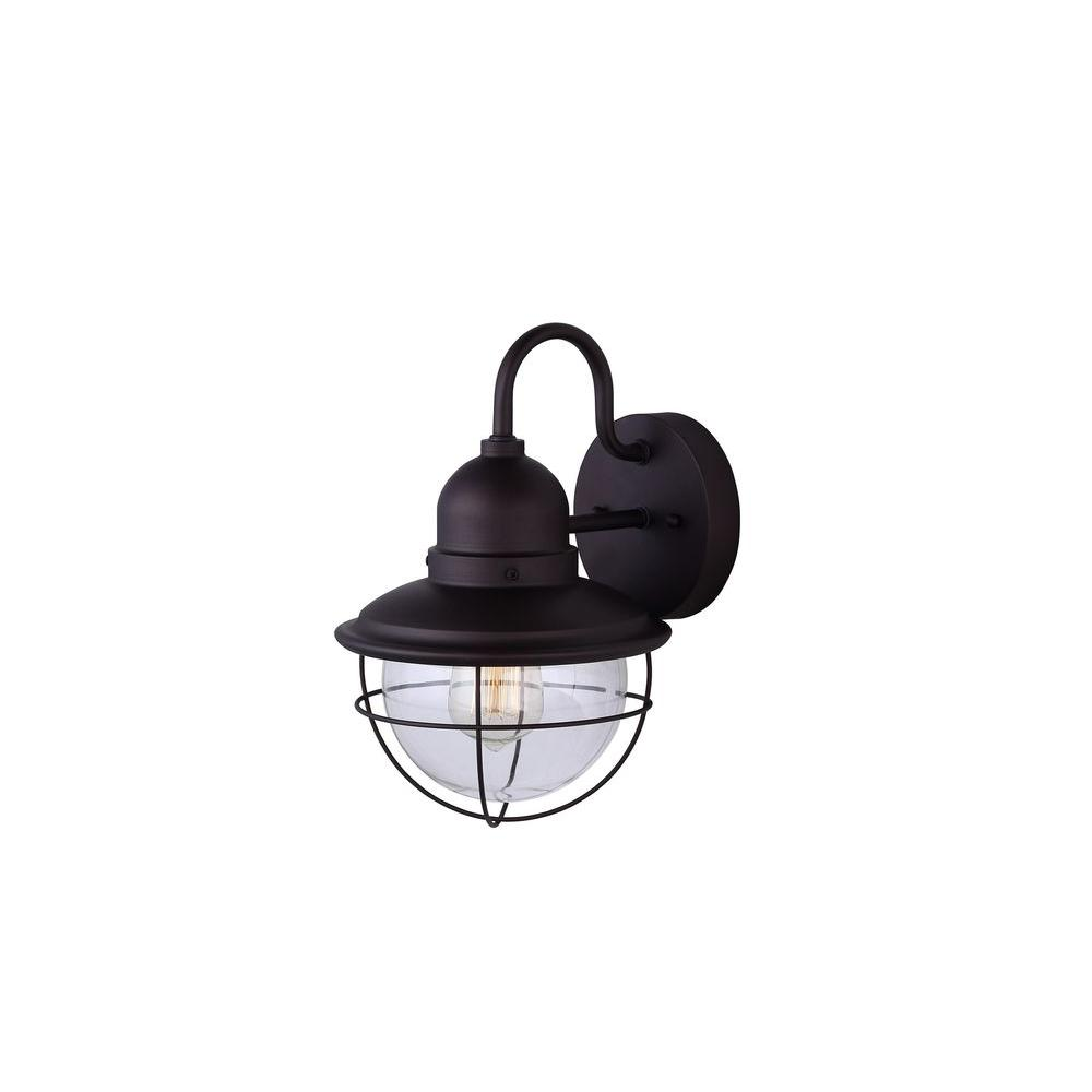 Lohan 1-Light Oil-Rubbed Bronze Outdoor Wall Light with Clear Glass