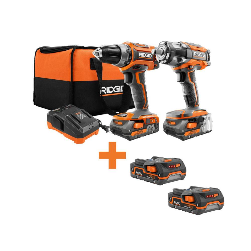 RIDGID 18-Volt Lithium-Ion Brushless Drill/Driver and Impact Wrench Kit with Bonus 1.5 Ah Battery (2-Pack) was $634.0 now $179.0 (72.0% off)