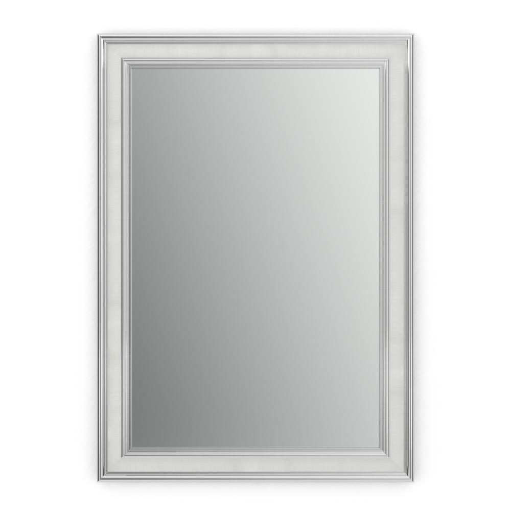 Delta 33 in. x 47 in. (L1) Rectangular Framed Mirror with Standard Glass and Float Mount Hardware in Chrome and Linen