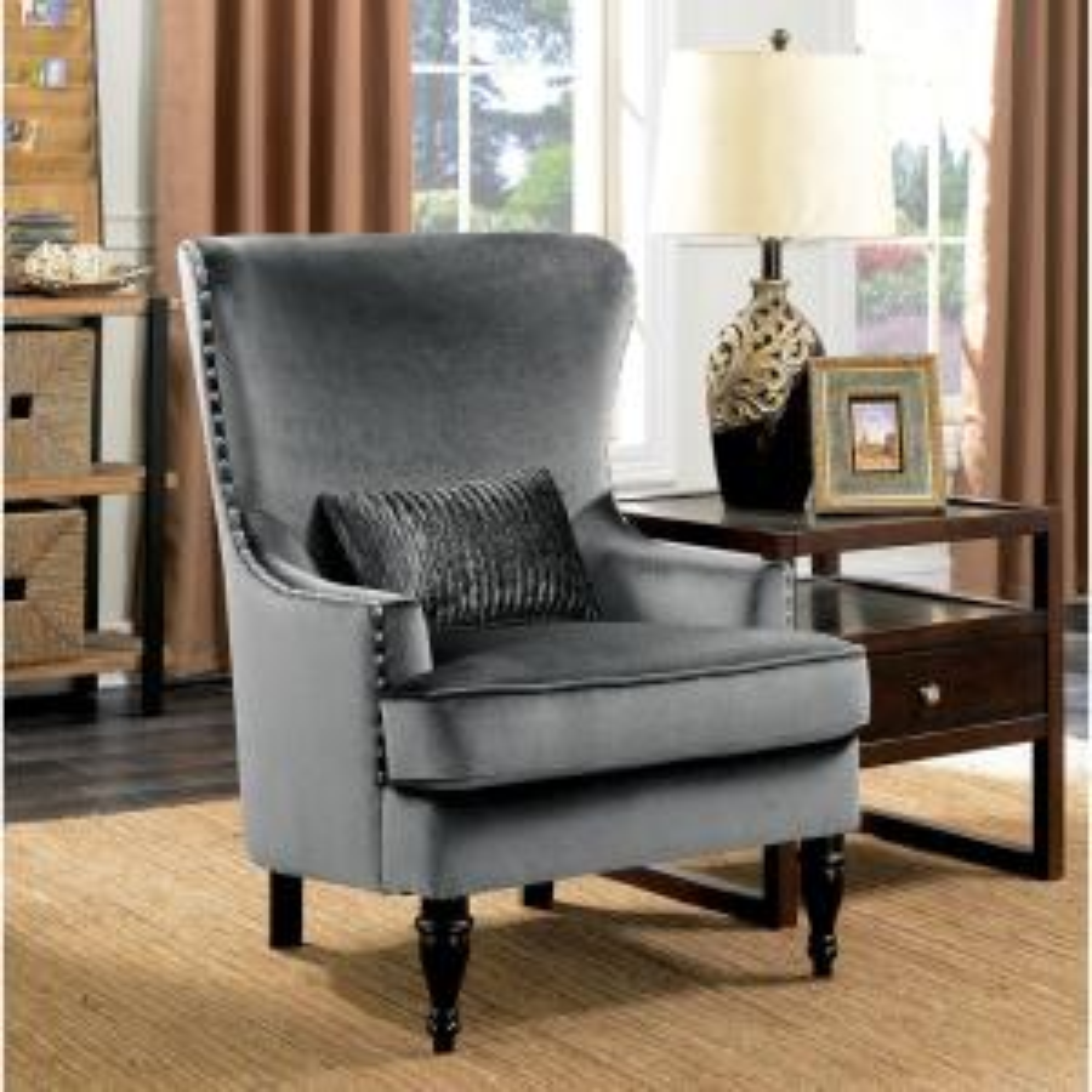 Manuela Dark Gray Glam Style Living Room Chair