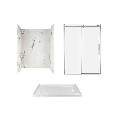 Passage 60 in. x 72 in. Right Drain Alcove Shower Kit in Powder Marble and Chrome Hardware