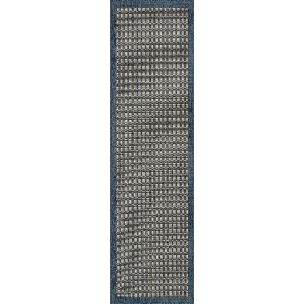 Medusa Odin Blue Solid and Striped Border 2 ft. 7 in. x 9 ft. 10 in. Indoor/Outdoor Runner Rug