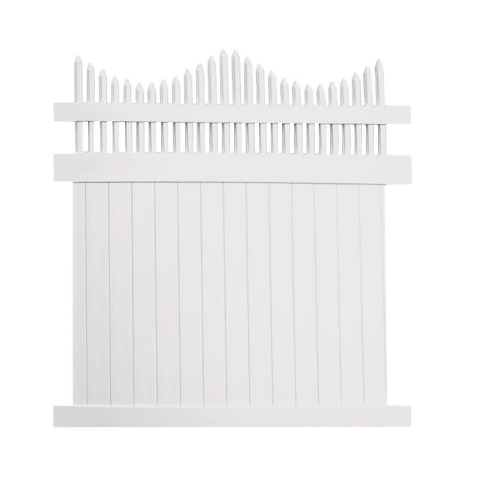 Louisville 6 ft. x 8 ft. White Vinyl Privacy Fence Panel Kit