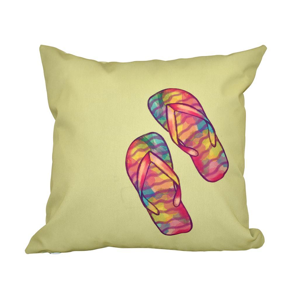 26f860feb3ef6 Internet  301291321. 16 in. x 16 in. Green Rainbow Flip Flops Geometric  Print Pillow