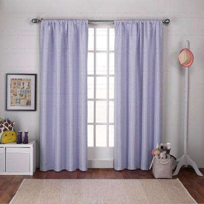 Polka Dot 54 in. W x 96 in. L Woven Blackout Rod Pocket Top Curtain Panel in Lilac Purple (2 Panels)