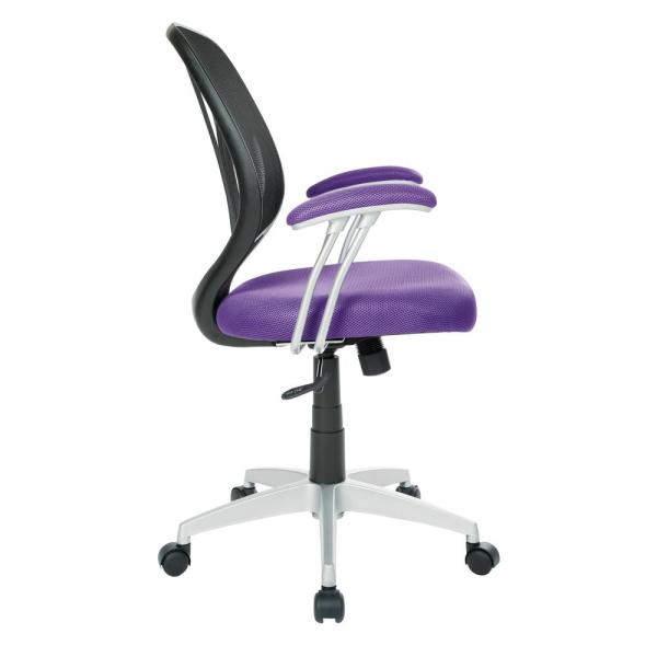 Office Star Products Purple Mesh Screen Back Chair With Silver Coated Arms And Base Emh69203s 512 The Home Depot