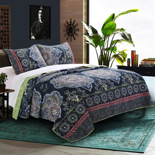 Barefoot Bungalow Twyla Midnight 3-Piece King Quilt Set GL-1609CMSK