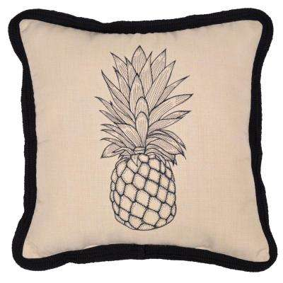 CushionGuard Oatmeal Square Outdoor Throw Pillow