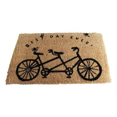 Best Day Ever Bicycle 18 in. x 30 in. Coir Door Mat