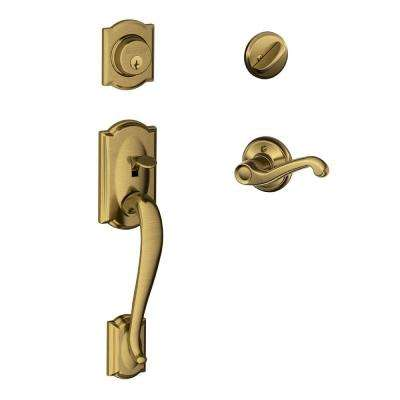 Camelot Single Cylinder Antique Brass Handle Set with Left-Hand Flair Lever