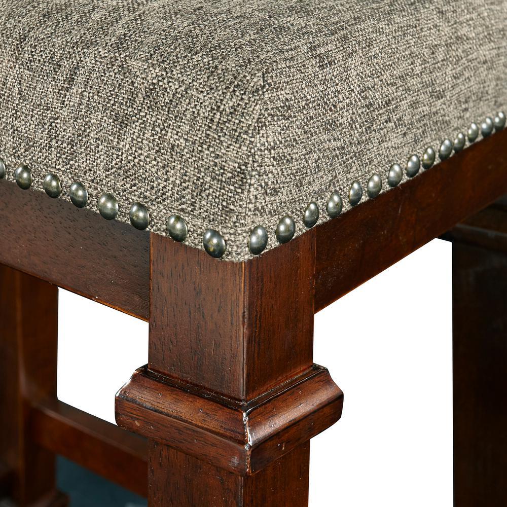 Linon Home Decor Kennedy 24 in. Walnut Cushioned Bar Stool