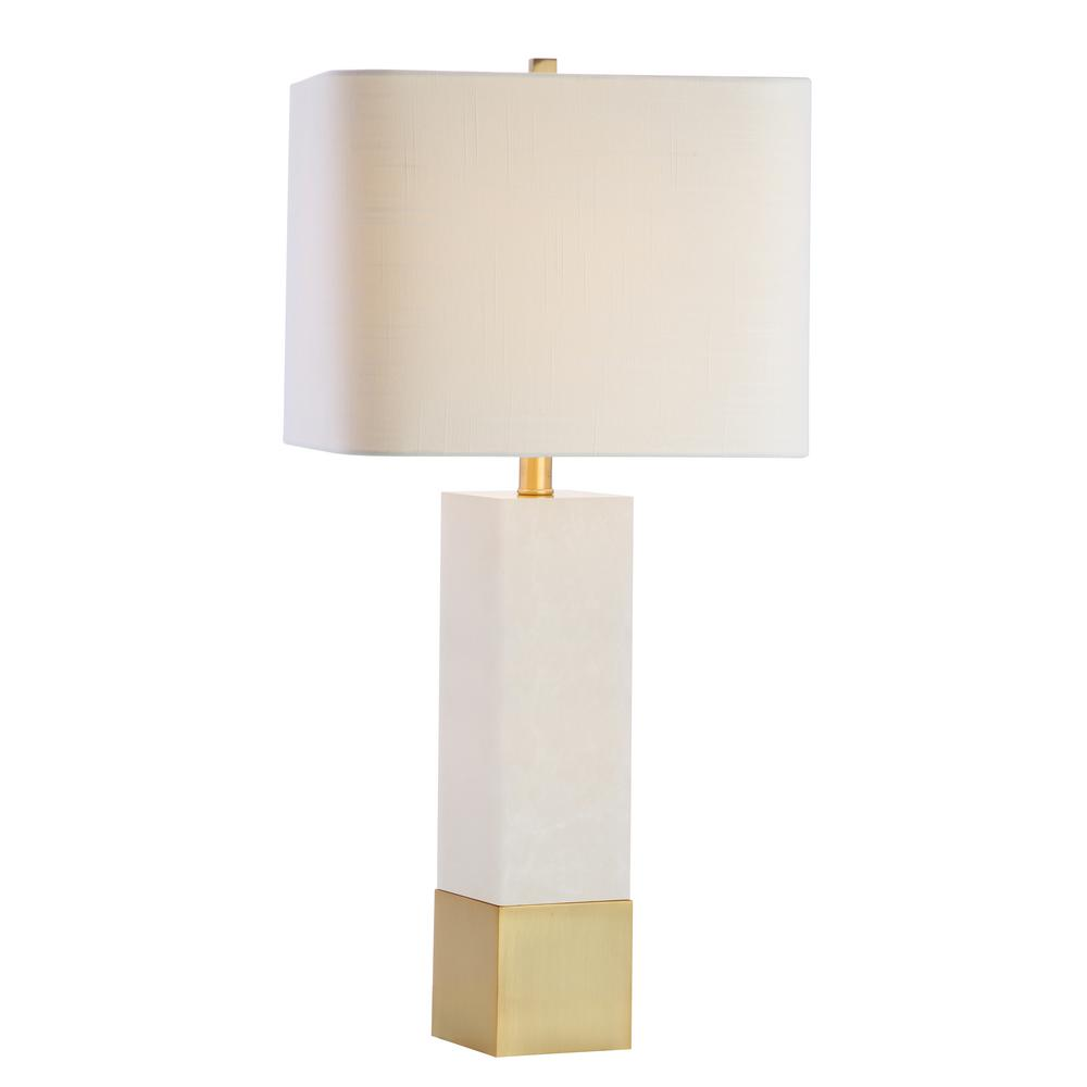 Jeffrey 29 in. Brass Gold/White Metal/Marble LED Table ...