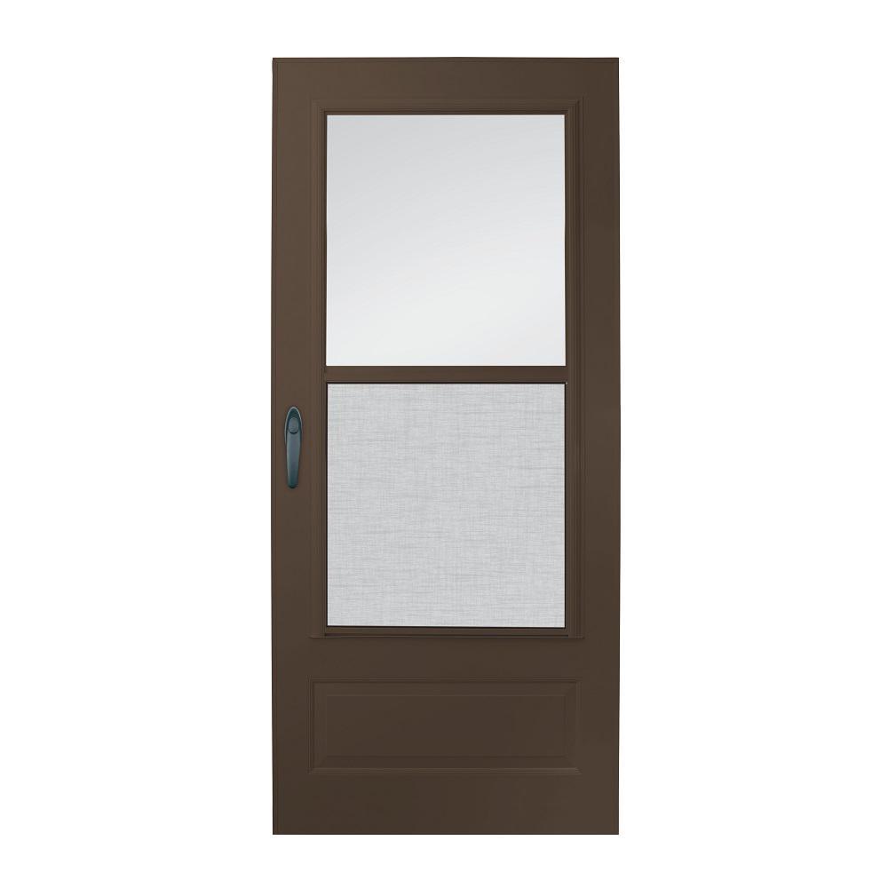 34 in. x 80 in. 100 Series Plus Bronze Self-Storing Storm Door