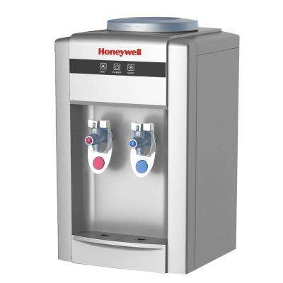 21 in. Hot and Cold Tabletop Water Cooler Dispenser in Silver