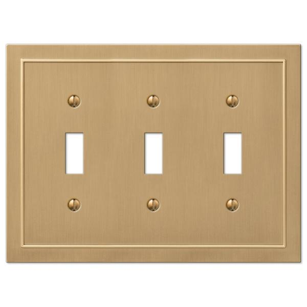 Bethany 3 Gang Toggle Metal Wall Plate - Brushed Bronze