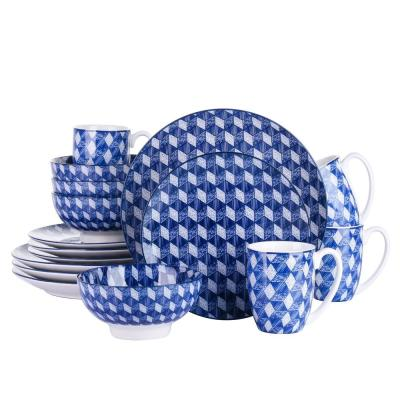 16-Piece Blue Pattern Porcelain Coffee Mugs Dinnerware Set Plates and Bowls Set (Service for 4)