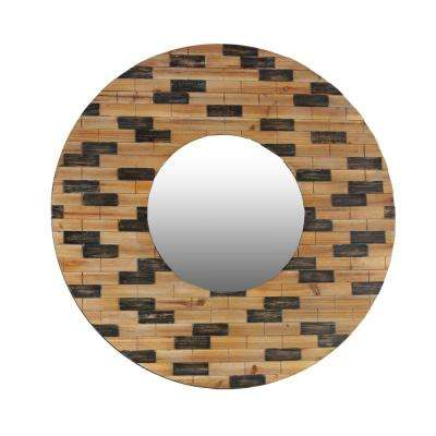 Round Brown Stained Wood Wall Mirror