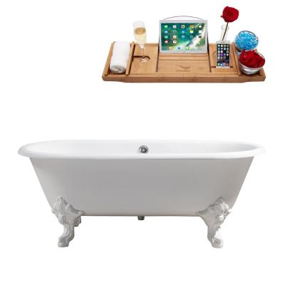 68.9 in. Cast Iron Clawfoot Non-Whirlpool Bathtub in Glossy White