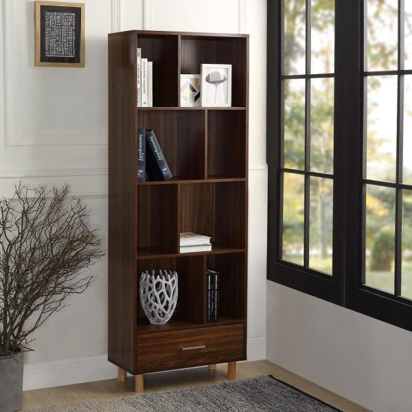 Harper & Bright Designs 65 in. Espresso Wood 8-shelf Standard Bookcase with Adjustable Shelves