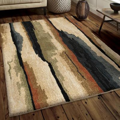 Colored Bark Plush Abstract Beige 8 ft. x 11 ft. Area Rug