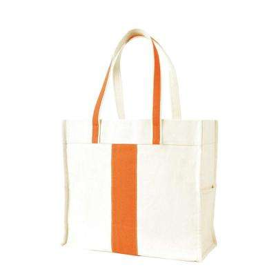 Center Stripe Orange Canvas Tote