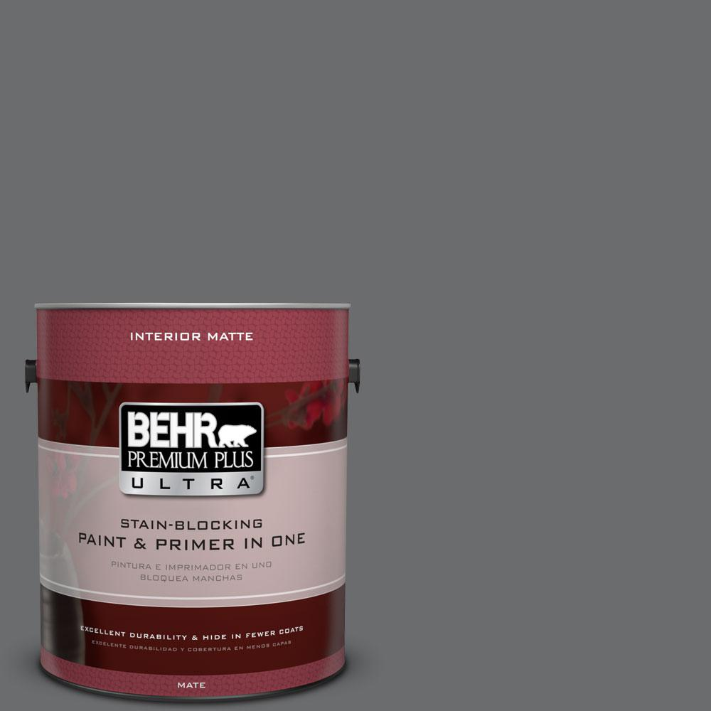 BEHR Premium Plus Ultra 1 gal. #770F-5 Dark Ash Flat/Matte Interior Paint and Primer in One