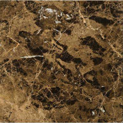 Marble Marrone Emperador Dark Polished 17.99 in. x 17.99 in. Marble Floor and Wall Tile