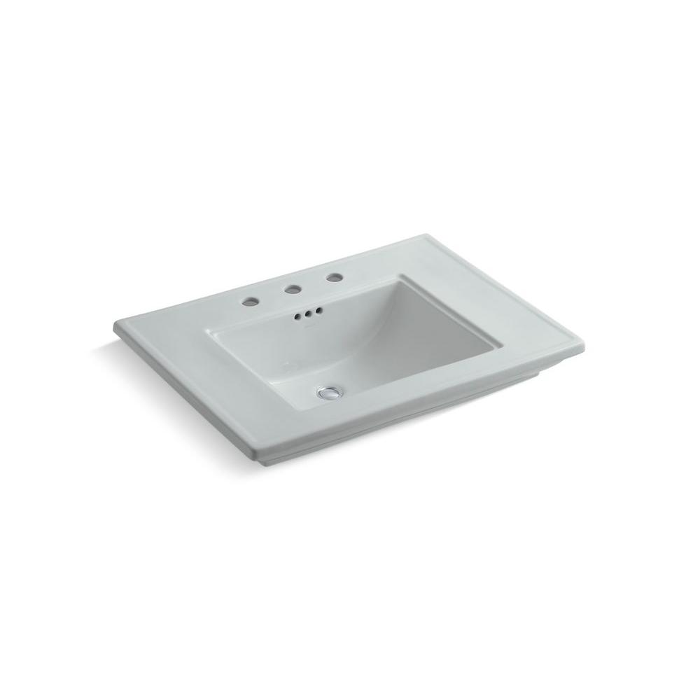 Memoirs 5 in. Ceramic Pedestal Sink Basin in Ice Gray with