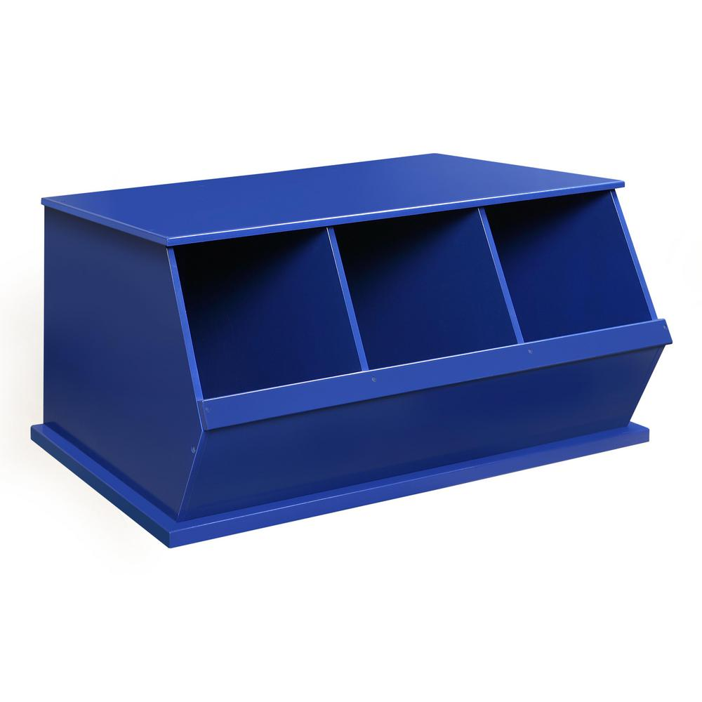 37.25 in. W x 19.25 in. D Blue Stackable 3-Storage Cubbies