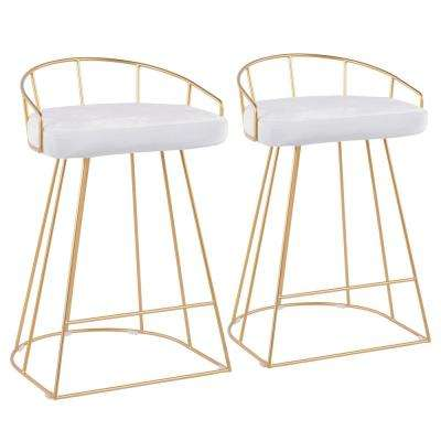 Canary 26 in. Gold and White Velvet Counter Stool (Set of 2)