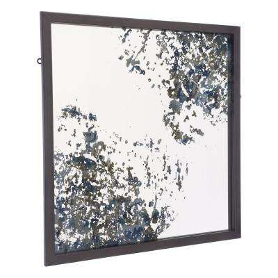 Square Antique Blue Wall Mirror
