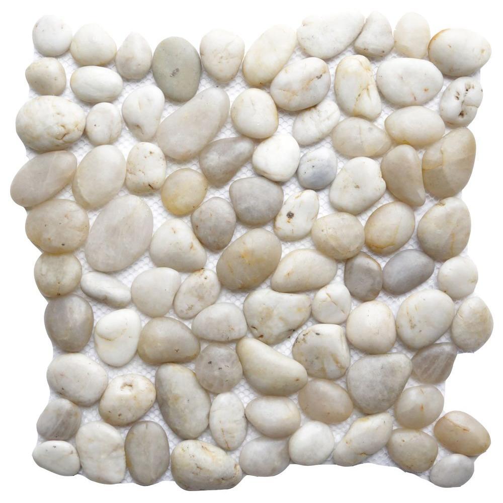 Islander Gray White 12 In X 12 In Natural Pebble Stone
