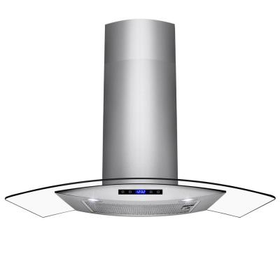 AKDY 30 in. Ducted Wall Mount Range Hood in Stainless Steel with Tempered Glass and Touch Controls, Brushed Stainless Steel