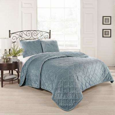 Collette 3-Piece Blue Queen Coverlet Set