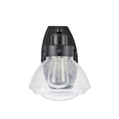 1-Light Black Vanity Light with Clear Seedy Glass Shade