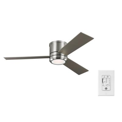 Clarity Max 56 on. Integrated LED Indoor/Outdoor Brushed Steel Flush Mount Ceiling Fan with Wall Switch Control