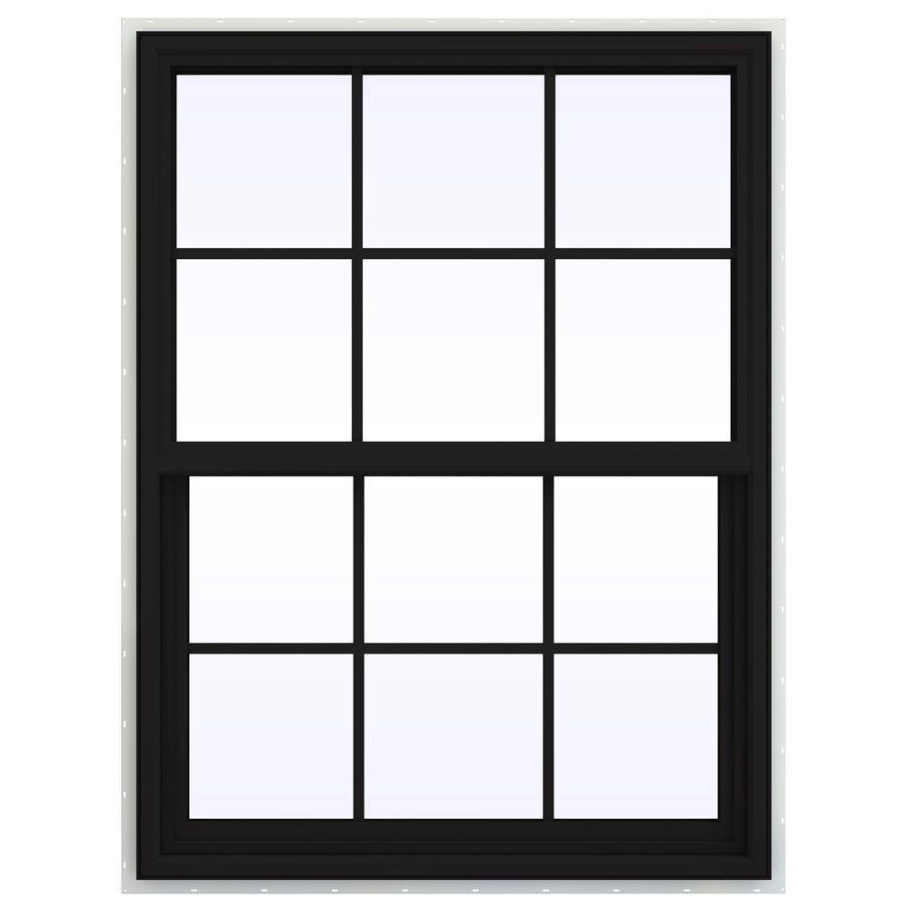 JELD-WEN 35.5 in. x 41.5 in. V-4500 Series Single Hung Vinyl Window with Grids - Black
