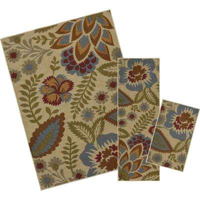 Crewel Floral Spice 5 ft. x 7 ft. 3-Piece Indoor/Outdoor Rug Set
